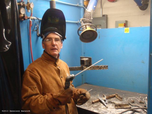 Dennison Berwick at welding school