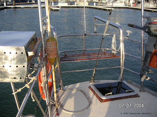sailboat SV Karuna aft deck