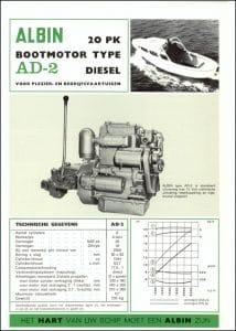 Albin AD-2 marine diesel engine Brochure Dutch