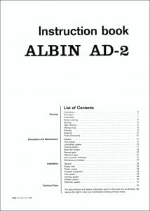 Albin AD2 marine diesel engine Instruction Book