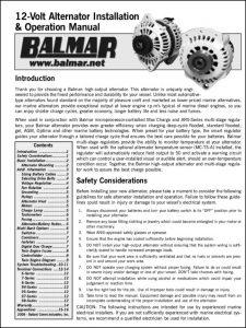 Balmar 12V Alternator Installation & Operation Manual 2008