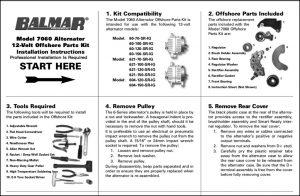 Balmar Alternator 7060 Offshore Kit Instructions