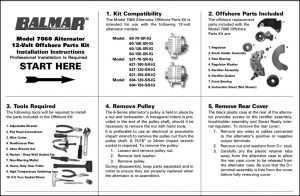 Balmar Alternator 7060 Offshore Kit Instructions