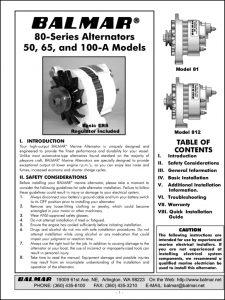 Balmar Alternator 80 Series Manual