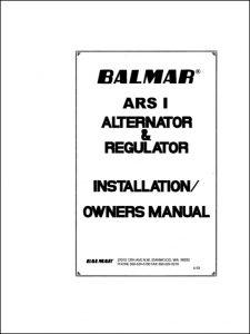 Balmar ARS-1 Alternator & Regulator Installation & Owners Manual 1993