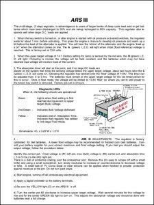 Balmar ARS-3 Alternator Regulator Manual