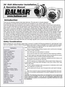 Balmar Alternator 24 Volt Installation Instructions