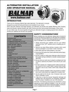 Balmar 12 volt Alternator Installation Instructions 2015