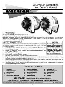 Balmar Alternator Installation and Owner's Manual