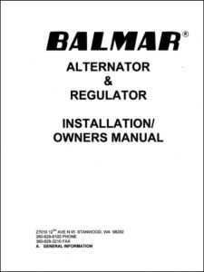 Balmar BRS2 Alternator Installation and Owners Manual