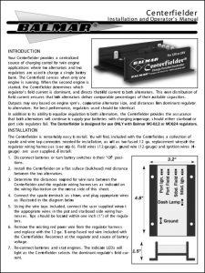 Balmar Centerfielder Installation and Operation Manual