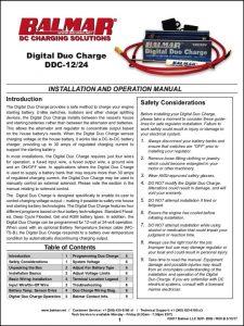 Balmar Digital Duo Charge DDC 12:24 Installation & Operation Manual