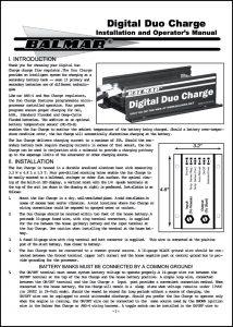 Balmar DuoCharge Installation & Operator's Manual