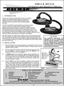 Balmar MC-412 Regulator Installation and Operator's Manual