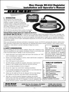 Balmar MC-612 Regulator Installation & Operation Manual pre-2005