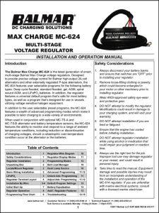 Balmar MC-624 Regulator Installation & Operation Manual 2017
