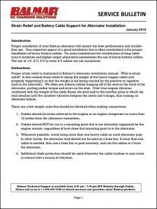 Balmar Yanmar Cable Strain Relief Service Bulletin 2019