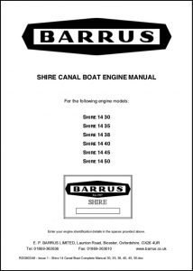 Barrus Shire 14 Series Canal boat engine Manual