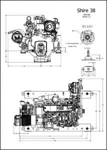 Barrus Shire 38 diesel engine and PRM90D marine transmission Installation Drawing