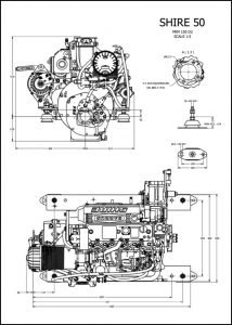 Barrus Shire 50 diesel engine and PRM150 D2 marine transmission installation Drawing