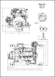 Barrus Shire 60 diesel engine with PRM160 transmission Drawing