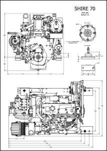 Barrus Shire 70 diesel engine and PRM280 marine transmission Drawing