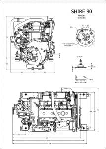 Barrus Shire 90 canal diesel engine with PRM280 marine transmission Drawing