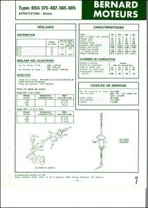 Bernard Moteurs moteurs diesel BDA-375, 482, 565 et 605 Spécifications