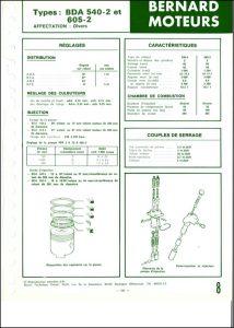 Bernard Moteurs diesel BDA-540-2 Spécifications
