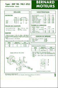 Bernard Moteurs diesel BDP-746 et 746-2 Spécifications