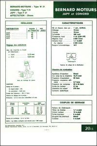 Bernard Moteurs diesel W21 Spécifications