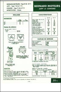 Bernard Moteurs W42 et W71 diesel Specifications