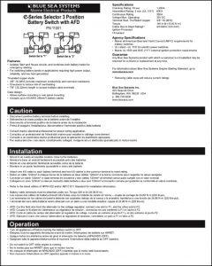 Blue Sea E Series Battery Switch PN11001 Manual