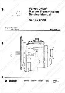 Borg Warner Velvet Drive 7000 Series Marine Transmission Service Manual