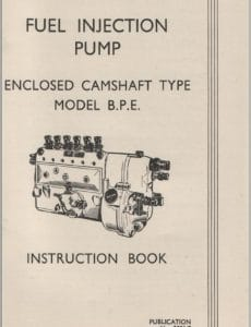CAV BPE Injection Pump Instruction Book