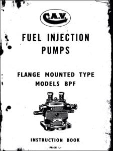 CAV Diesel Injection Pumps Models BPF Instruction