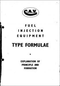 CAV diesel fuel injection Type Formulae Guide