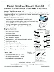 CL# marine diesel system maintenance checklist