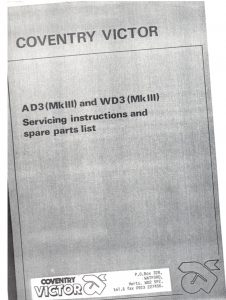 Coventry Victory diesel engine AD3, WD3 Service Instructions 7 Spare Parts List
