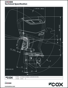 Cox CXO300 diesel outboard Technical Specifications
