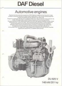 DAF DU 825 V diesel engine Brochure