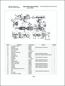 Delco model 10478998 Starter Parts Drawing
