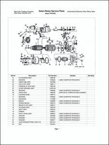 Delco model 10479003 Starter Parts Drawing