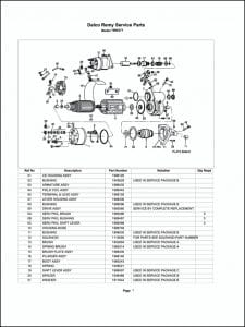 Delco model 1990371 Starter Parts Drawing