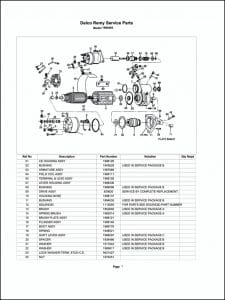 Delco model 1990483 Starter Parts Drawing