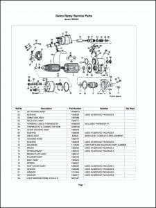 Delco model 1990484 Starter Parts Drawing