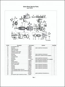 Delco model 1990490 Starter Parts Drawing