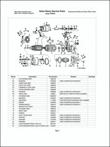 Delco model 1990491 Starter Parts Drawing