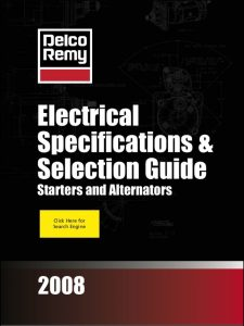 Delco Remy Starter & Alternator Selection Guide 2008
