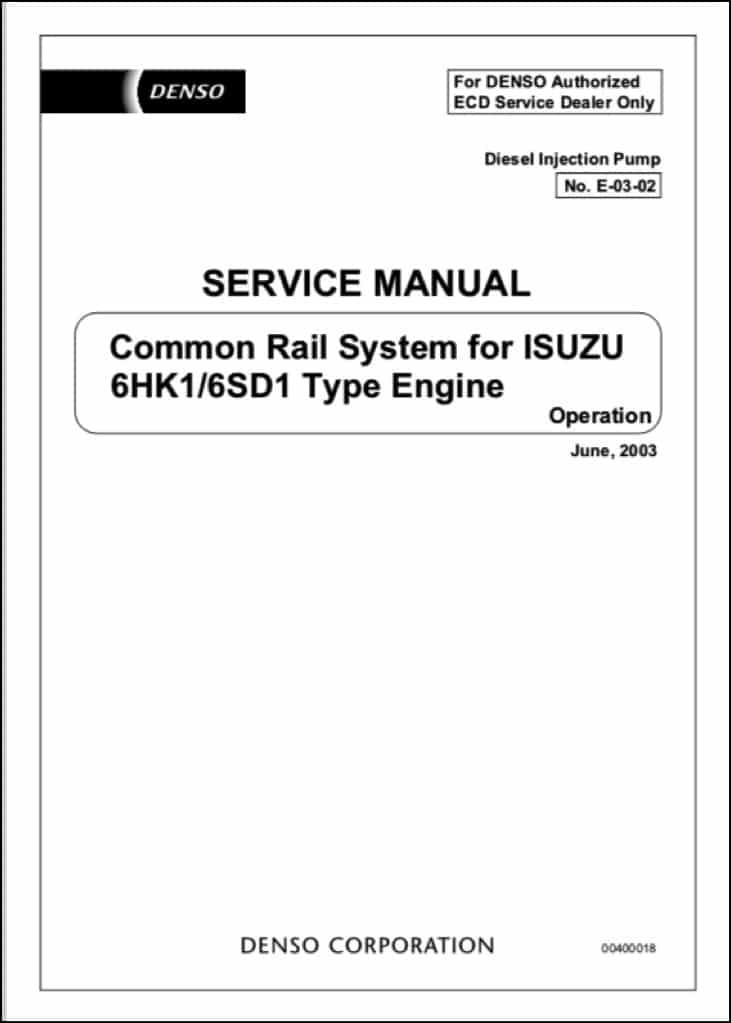 Denso Common Rail 6HK1 Fuel Pump Service Manual - MARINE